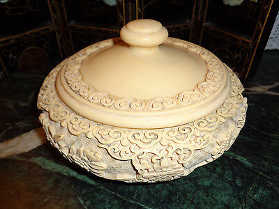 ASIAN ANTIQUE rare bone color BOWL WITH LID weighs almost 4 lbs. 8