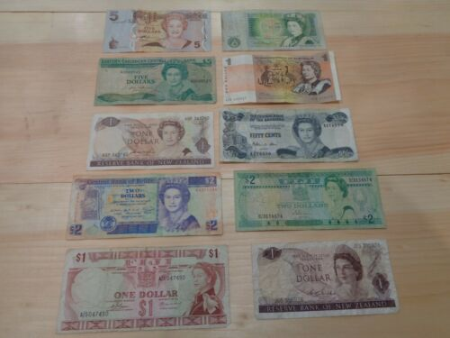 Set of 10 Mixed Banknotes Foreign Currency World Paper Money Queen Elizabeth