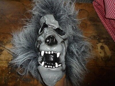 Gnashing teeth Big Scary ALL GRAY wolf Halloween adult costume mask GUC dress up ()