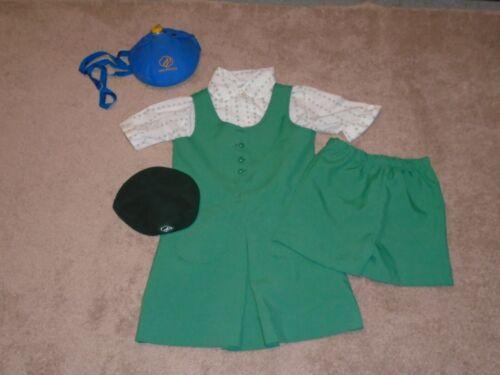 Vintage 1980s Girl Scout Uniform Dress Size 8 Jumper Blouse Shorts Hat Canteen