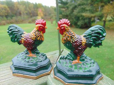 VTG Cast Iron Rooster Door Stop Hand Painted Farm Bookends Country Decor Home