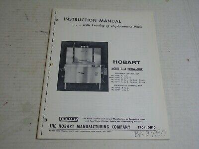 Hobart C-44 Dishwasher Instruction Manual W Parts Catalog - 56 Pages