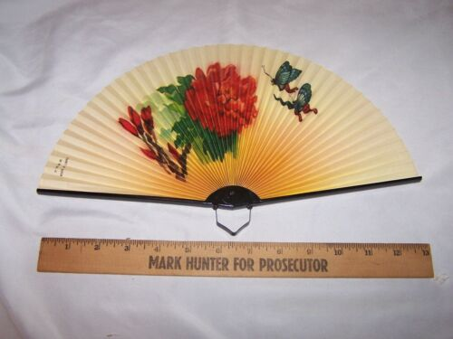Vintage Floral / Butterfly Hand Held Fan marked Made in China with Metal Frame