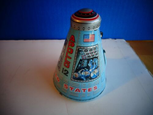 APOLLO 12 SPACE CAPSULE, COLRFUL TIN, JAPAN, MINT COND