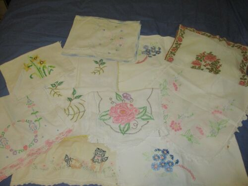 Vintage Textile Lot Crafts Cutter Embroidery Crochet Dresser Scarf Kittens Table