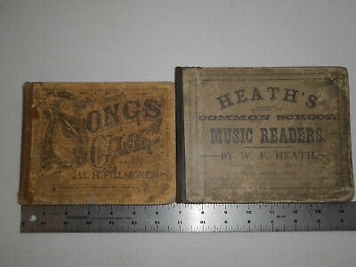 2 Vintage Music Books Heath's Reader 1879 & Fillmore's Songs of Glory 1874