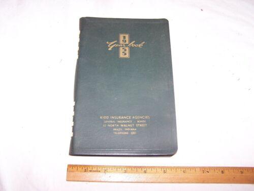 1955 KIDD INSURANCE AGENCIES Calendar Year Book BRAZIL INDIANA