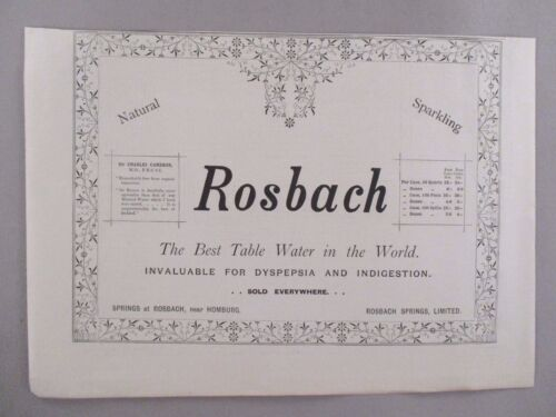 Rosbach Sparkling Mineral Water PRINT AD - 1896 ~~ invaluable for dyspepsia