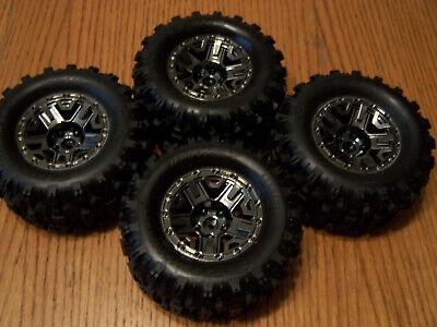 Traxxas HOSS 4X4 VXL Sledgehammer Tires & Black Chrome Wheels 2.8 Glued 90076-4