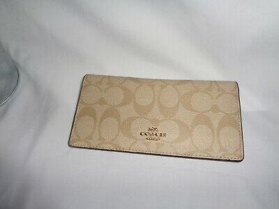 COACH F88026 SIGNATURE BIFOLD WALLET CREDIT CARD SMALL CLUTCH LIGHT KHAKI CHALK