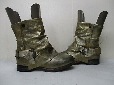 Corkys Distressed Gold Zip Mid Calf Biker Boots Womens Size 37 EUR](Gold Boots Womens)