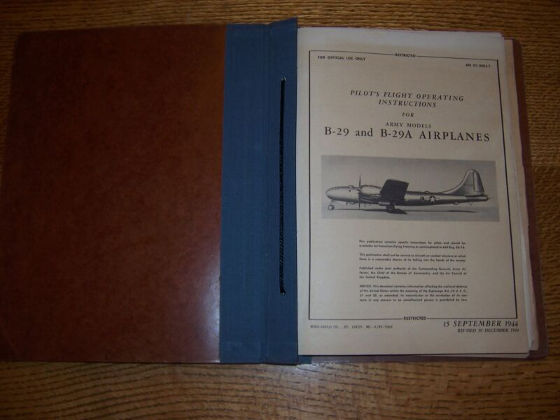 Original WWII Boeing B-29 Pilot Flight Manual 1944 and