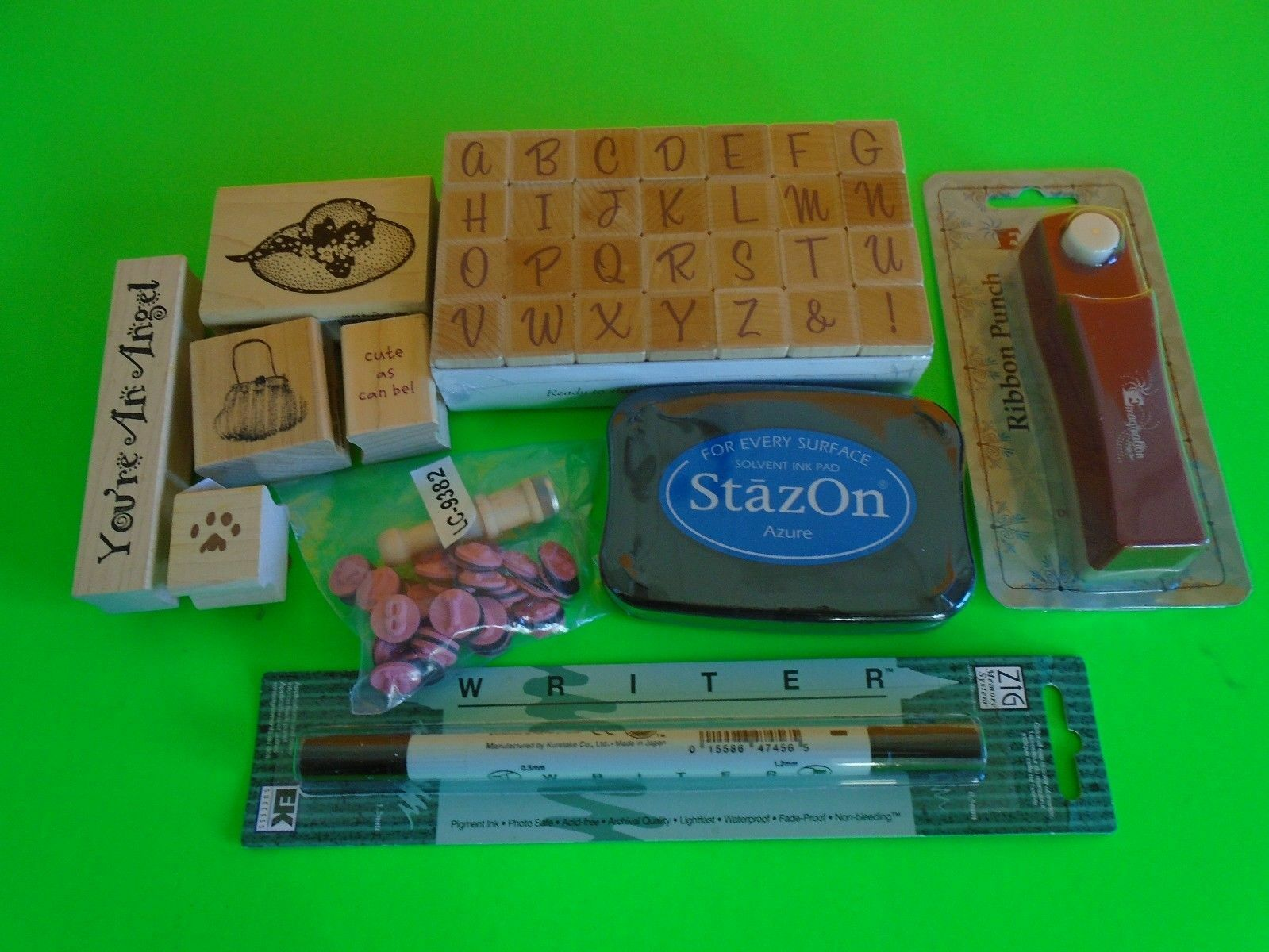 Lot Of Rubber Stamp Alphabets, Pet, Saying, Ribbon Punch Staz On Solvent Ink Pad - $14.99