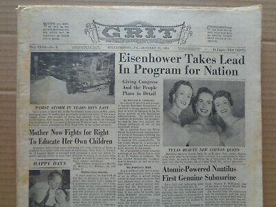 GRIT Newspaper January 17 1954 EISENHOWER-Jim Piersal-GENE AUTRY-Comic-JC PENNEY