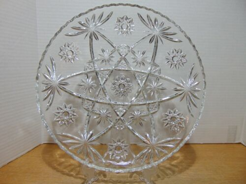 Anchor Hocking Early American Prescut Star Of David Round Serving Platter 13 1/2