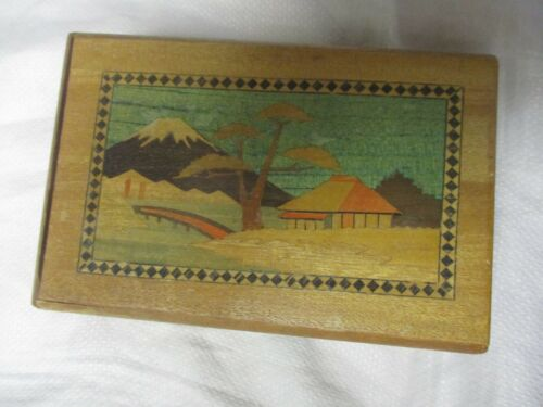 Vintage Japanese Wood Box Marquetry Inlaid Asian Mid Century Puzzle Trick