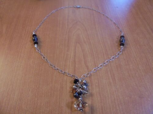 """Sterling silver peach black crystal faux pearl chain necklace 22.5"""" 25.3 grams"""