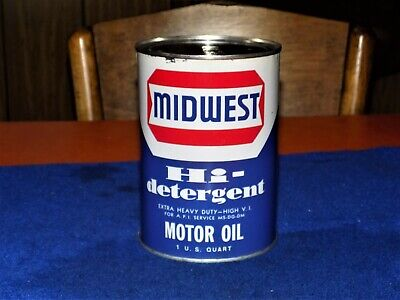 MIDWEST OIL CO., ACE HIGH, High Detergent, metal 1 quart oil can, Full (NOS)