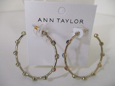Ann Taylor Large Round Multi Color Crystal Hoop Earrings NWT $39.50 ()