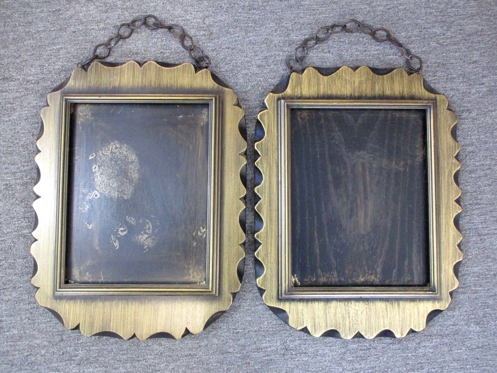 """(2) Pair Vintage Wood Picture Frames w/ Gold-Brushed Finish 21"""" x 16"""" Mid-Cent"""