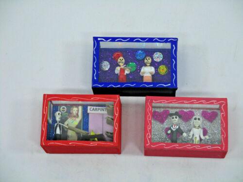 3 SHADOW BOX SET day of the dead nicho lot wholesale mexican handmade folk art