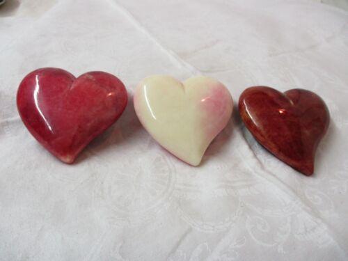 Vintage Italy Ducceschi 3 Alabaster cream to dark pink Heart Paperweights