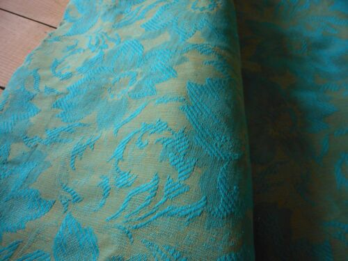 Vintage Retro Floral Damask Jacquard Linen Fabric~Turquoise Teal Ochre