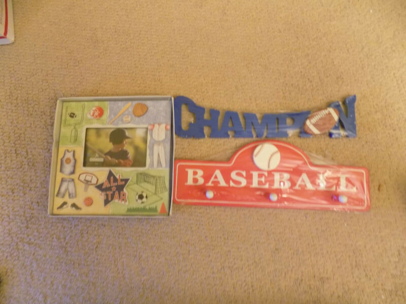 """Hat Rack Boys Room BaseBall 16"""" Football  wall decoration 14"""" 4X6 picture frame"""