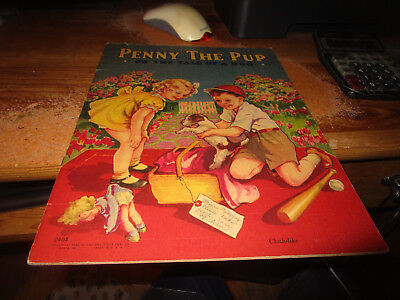 Rare 1942 Children's Book Penny The Pup Cloth-like Saalfield 2404 Clean Copy!