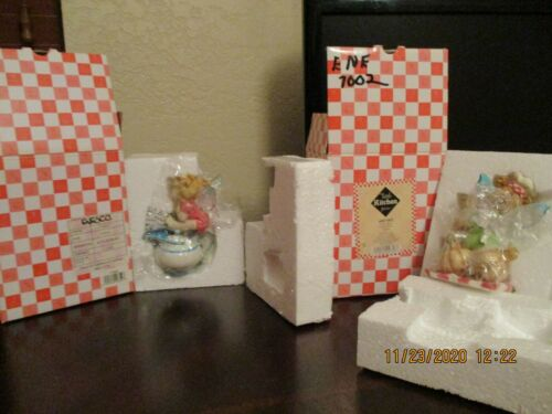SET OF 2 FIG ON CREAMER & GARLIC MY LITTLE KITCHEN  FAIRIE PREOWNED WITH  BOX