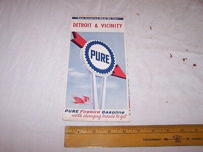 1965 PURE Gas & Oil DETROIT & VICINITY Map FIREBIRD GASOLINE