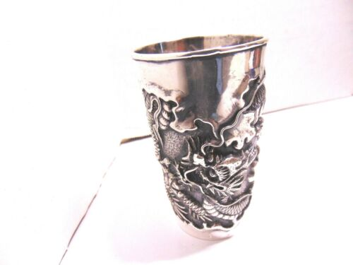 Large Silver Carved Dragon With Pearl Liquor Cup