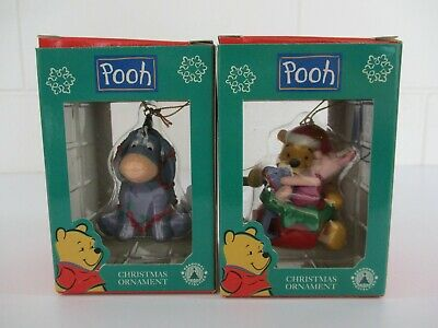 2 Winnie the Pooh Ornaments - Eeyore, Santa Claus Pooh