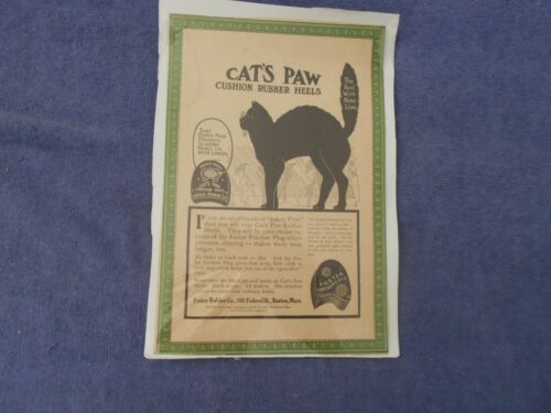 VINTAGE NEWSPAPER AD CATS PAW CUSHION RUBBER HEELS- Foster Rubber, Boston