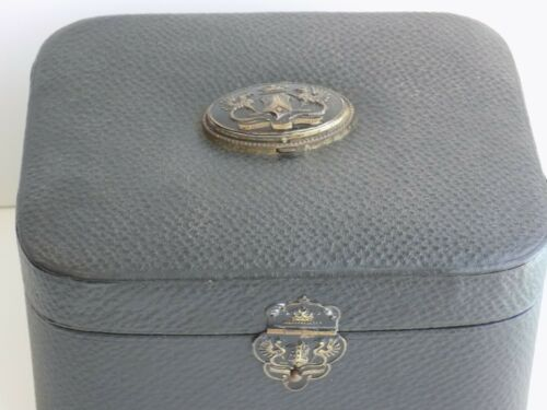 ANTIQUE EXOTIC LEATHER VICTORIAN COLLAR BOX WITH CUFFLINK HOLDER  HMR & CO.