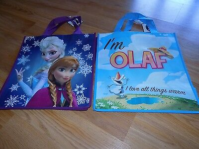 Lot of 2 Disney Frozen Tote Halloween Gift Bag Party Favor Anna Elsa Olaf New