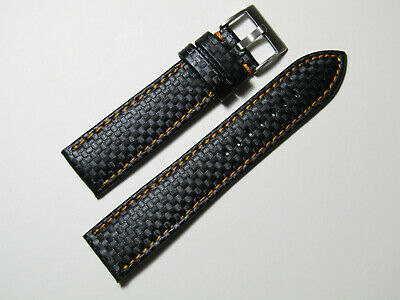 20mm Hadley-Roma MS847 Black Carbon Fiber Leather Orange Stitch Watch Band Strap 20mm Black Carbon Fiber