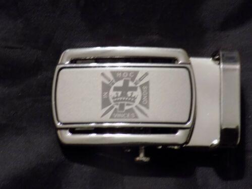 "Masonic Black Leather Ratchet Belt & Buckle York Rites Fits up to 60"" NEW!"