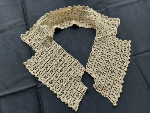 Gorgeous Vintage Handmade Crocheted Lace Collar 100% Cotton Beige Art Deco