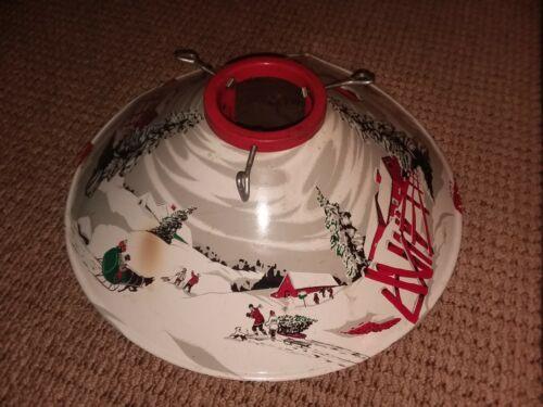 """Vintage Tin Litho Christmas Tree Stand Farmhouse Snow Scene 20"""" wide."""