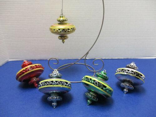 Vintage Mid-Century Bradford 5 Sputnik Atomic UFO Plastic Ornaments