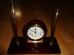 Howard Miller Desk Clock and Pen Holder Gold-tone with Fine Wooden Base