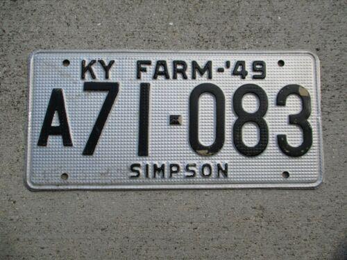 "Kentucky 1949 ""waffle"" FARM license plate  #  a 71 - 083"