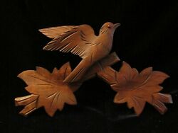 GERMAN CUCKOO CLOCK WOOD CARVED BIRD, LEAVES NICE