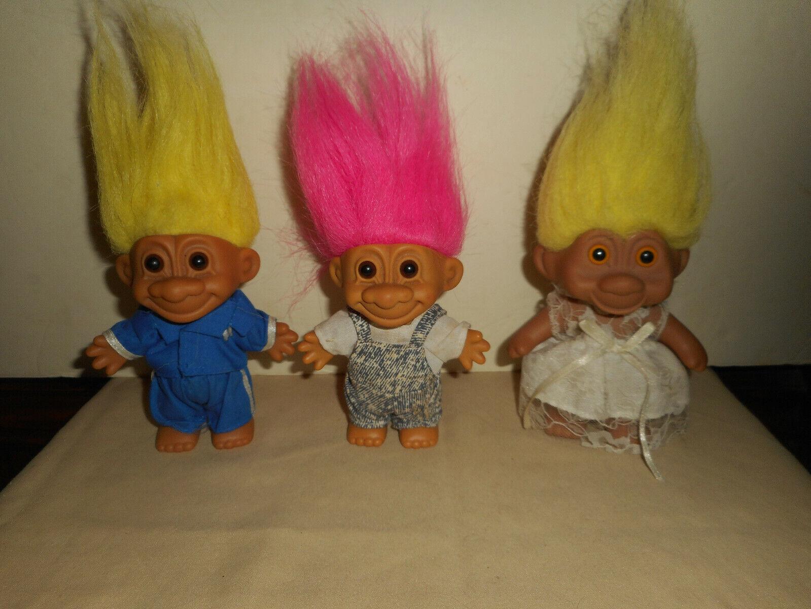 Vintage Russ Troll Doll Lot 1991 TNT Bride Wedding Dress Karate Blue Denim Bib - $20.50