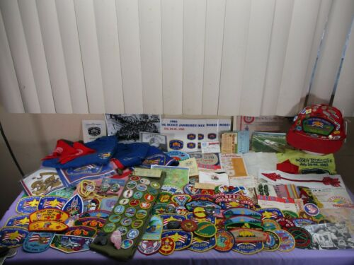 Vintage1970/80s Boy Scout Camp Staff Memorabilia Lot 200+ Medals Pins Patches ++
