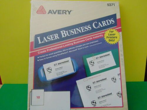 """250 Avery 5371 Laser Business Cards 2 x 3.5"""" White New & Sealed"""