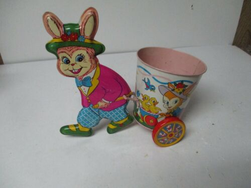 Vintage Ohio Art Tin Litho EASTER Rabbit Pulls Round Bucket Cart