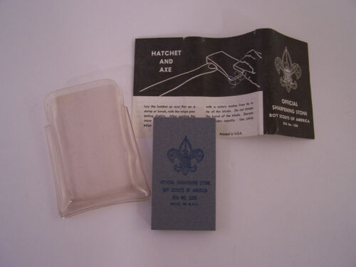 Vintage Boy Scouts of America Official Sharpening Stone * Hatchet & Axe * UNUSED