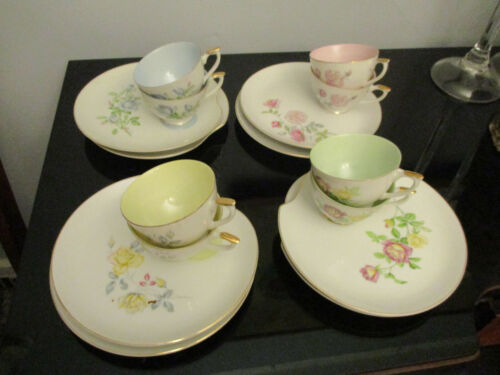 8 Vintage Roses Pastel Easter Spring Snack Luncheon Plate Cup Set Lefton China!